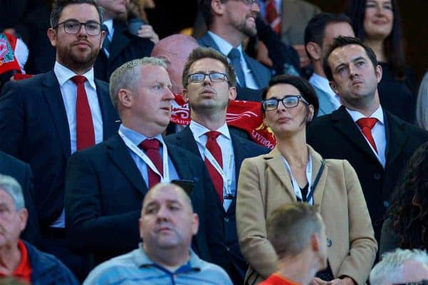 LIVERPOOL, ENGLAND - Wednesday, August 23, 2017: Liverpool's Director of Football Michael Edwards during the UEFA Champions League Play-Off 2nd Leg match between Liverpool and TSG 1899 Hoffenheim at Anfield. (Pic by David Rawcliffe/Propaganda)
