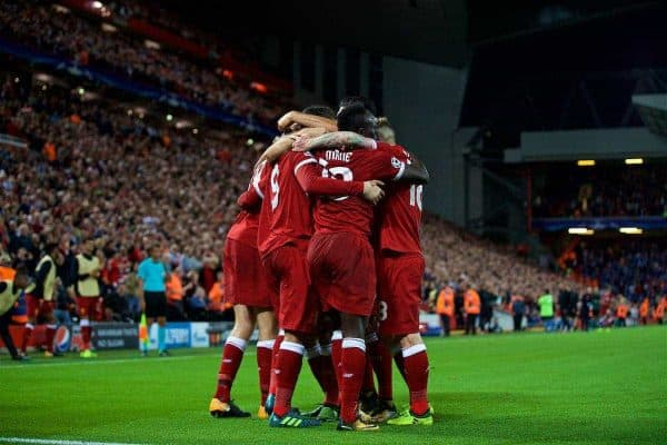 LIVERPOOL, ENGLAND - Wednesday, August 23, 2017: Liverpool's Roberto Firmino celebrates scoring the fourth goal with team-mates during the UEFA Champions League Play-Off 2nd Leg match between Liverpool and TSG 1899 Hoffenheim at Anfield. (Pic by David Rawcliffe/Propaganda)