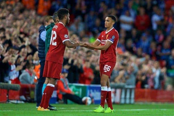 Liverpool's Trent Alexander-Arnold is replaced by substitute Joe Gomez during the UEFA Champions League Play-Off 2nd Leg match between Liverpool and TSG 1899 Hoffenheim at Anfield. (Pic by David Rawcliffe/Propaganda)