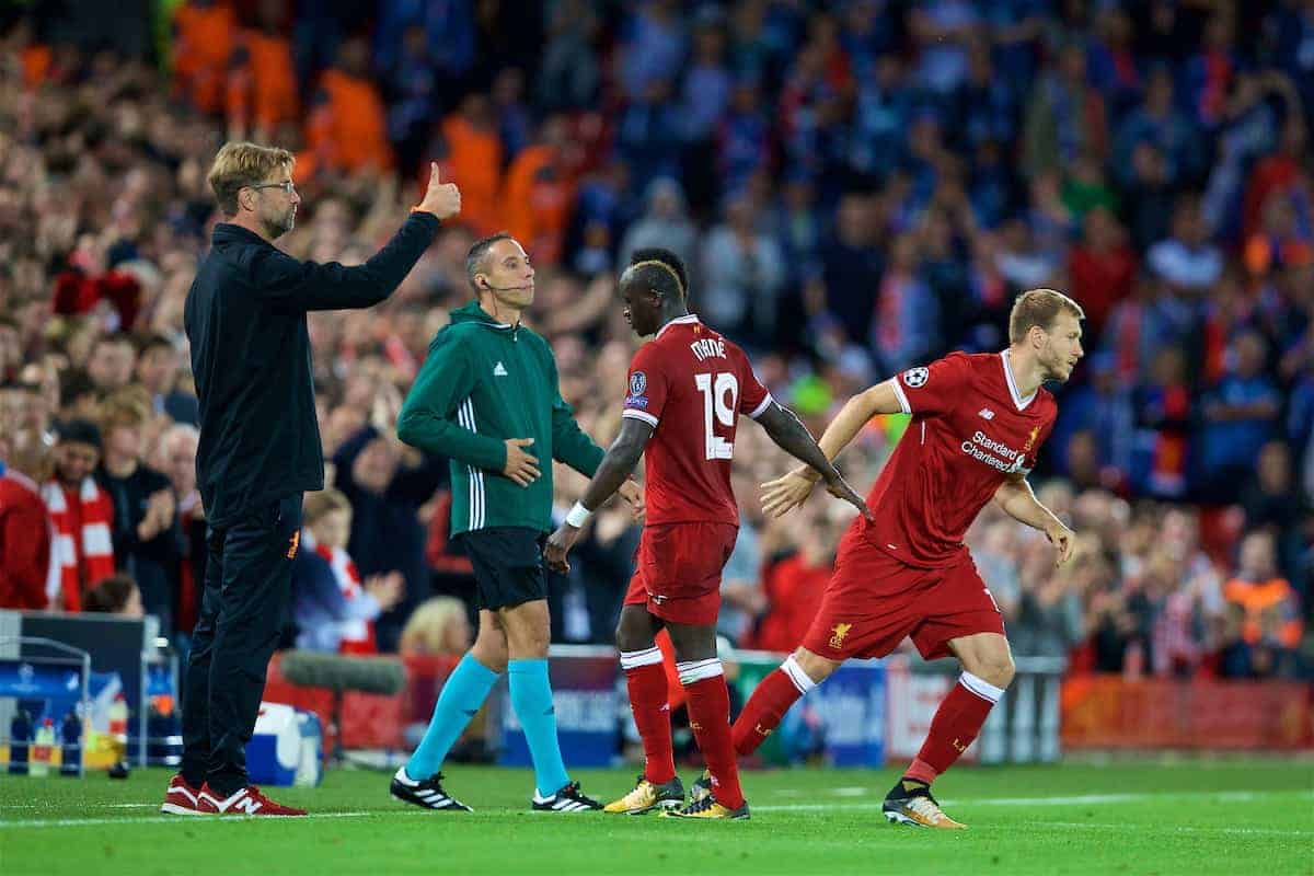 LIVERPOOL, ENGLAND - Wednesday, August 23, 2017: Liverpool's Sadio Mane is replaced by substitute Ragnar Klavan by manager Jürgen Klopp during the UEFA Champions League Play-Off 2nd Leg match between Liverpool and TSG 1899 Hoffenheim at Anfield. (Pic by David Rawcliffe/Propaganda)
