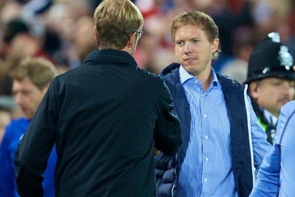 LIVERPOOL, ENGLAND - Wednesday, August 23, 2017: TSG 1899 Hoffenheim's head coach Julian Nagelsmann shakes hands with Liverpool's manager Jürgen Klopp during the UEFA Champions League Play-Off 2nd Leg match between Liverpool and TSG 1899 Hoffenheim at Anfield. (Pic by David Rawcliffe/Propaganda)