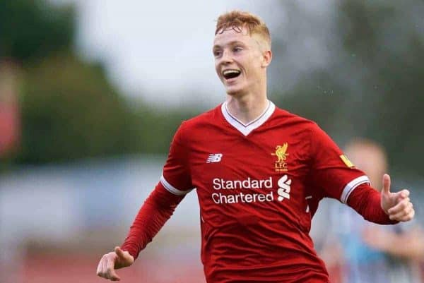 KIRKBY, ENGLAND - Friday, August 25, 2017: Liverpool's Glen McAuley during an Under-18 FA Premier League match between Liverpool and Newcastle United at the Kirkby Academy. (Pic by David Rawcliffe/Propaganda)