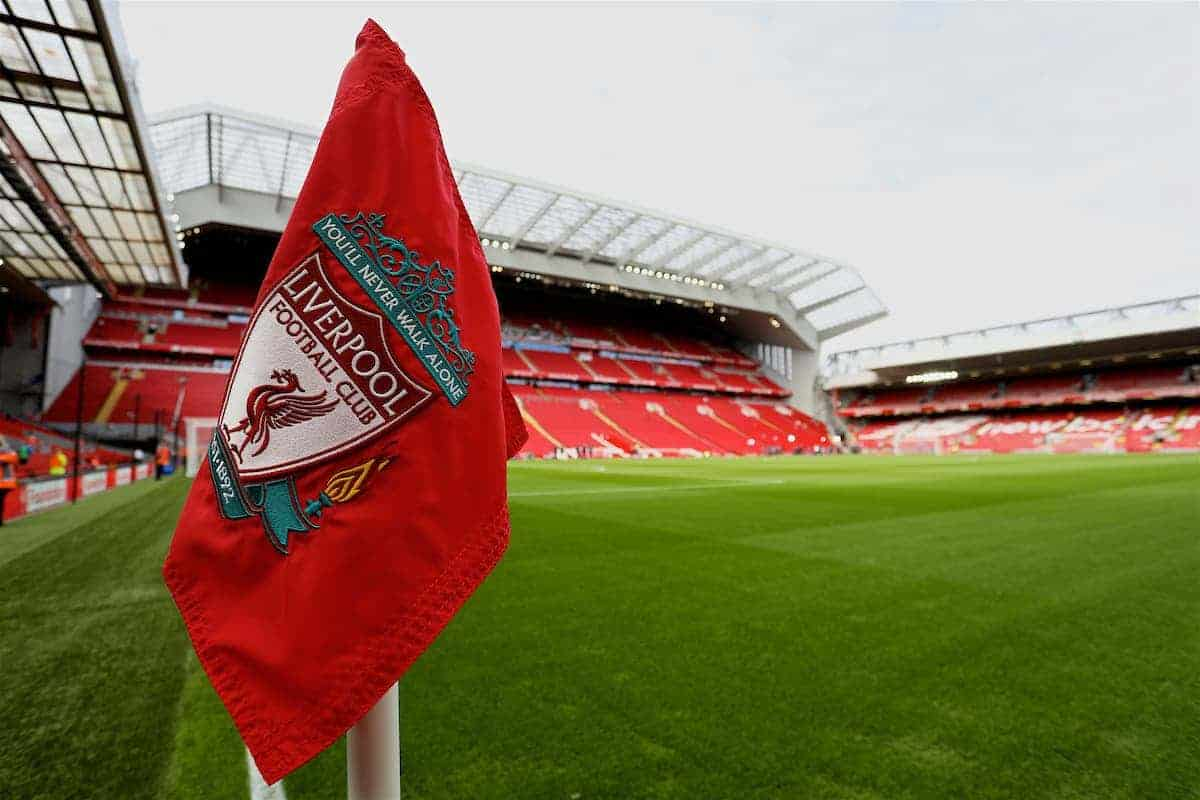 LIVERPOOL, ENGLAND - Sunday, August 27, 2017: The LFC branded corner flag at Anfield ahead of the FA Premier League match between Liverpool and Arsenal. (Pic by David Rawcliffe/Propaganda)