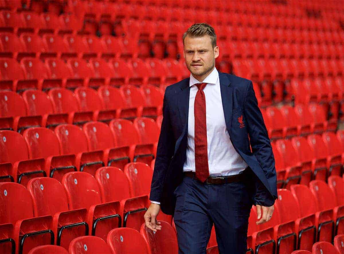 LIVERPOOL, ENGLAND - Sunday, August 27, 2017: Liverpool's goalkeeper Simon Mignolet, who has been dropped from the match-day squad, arrives before the FA Premier League match between Liverpool and Arsenal at Anfield. (Pic by David Rawcliffe/Propaganda)