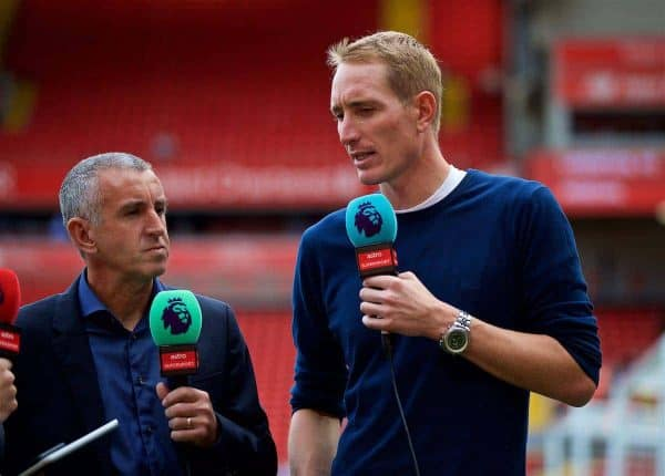 LIVERPOOL, ENGLAND - Sunday, August 27, 2017: Former Liverpool goalkeeper Chris Kirkland working for Astro Supersport before the FA Premier League match between Liverpool and Arsenal at Anfield. (Pic by David Rawcliffe/Propaganda)