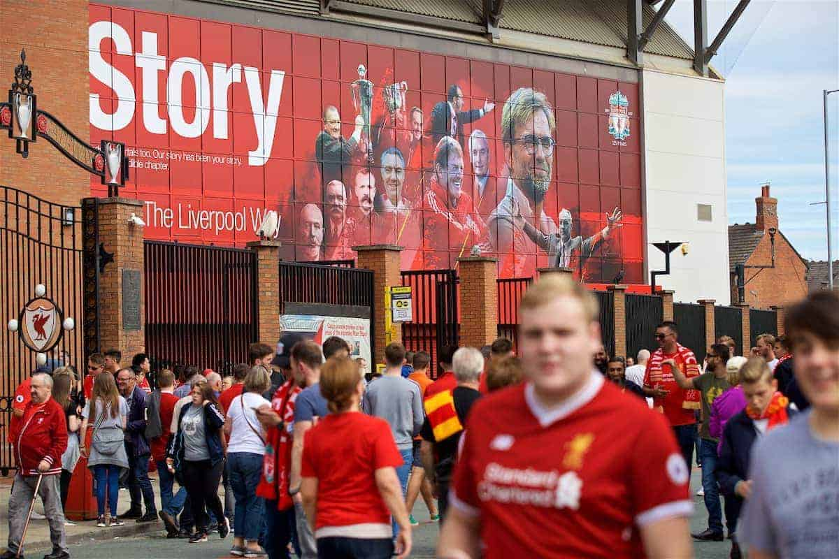 LIVERPOOL, ENGLAND - Sunday, August 27, 2017: Images of current and former Liverpool players and managers stare down on supporters from the Spion Kop before the FA Premier League match between Liverpool and Arsenal at Anfield. (Pic by David Rawcliffe/Propaganda)
