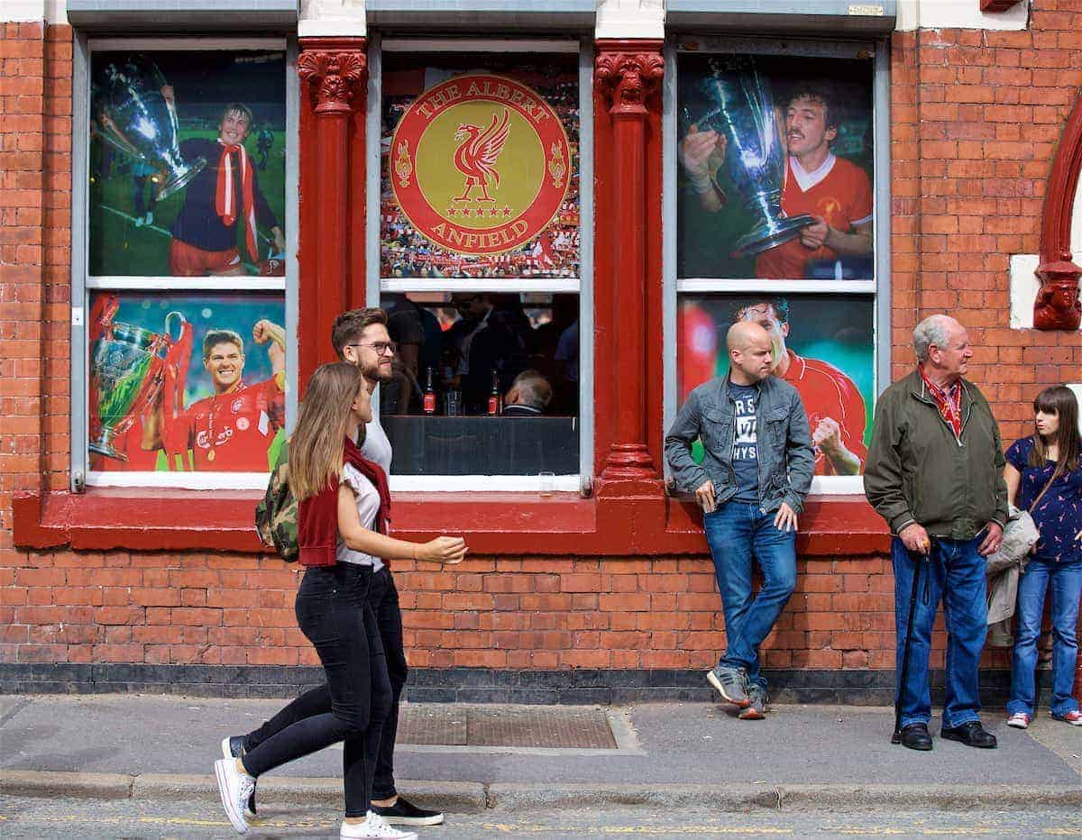 LIVERPOOL, ENGLAND - Sunday, August 27, 2017: Liverpool supporters walk past the Albert pub before the FA Premier League match between Liverpool and Arsenal at Anfield. (Pic by David Rawcliffe/Propaganda)