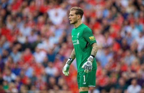 LIVERPOOL, ENGLAND - Sunday, August 27, 2017: Liverpool's goalkeeper Loris Karius during the FA Premier League match between Liverpool and Arsenal at Anfield. (Pic by David Rawcliffe/Propaganda)
