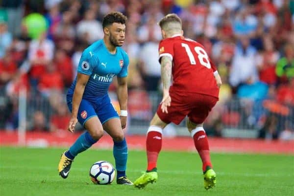 LIVERPOOL, ENGLAND - Sunday, August 27, 2017: Arsenal's Alex Oxlade-Chamberlain and Liverpool's Alberto Moreno during the FA Premier League match between Liverpool and Arsenal at Anfield. (Pic by David Rawcliffe/Propaganda)