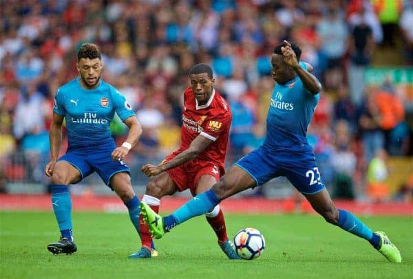 LIVERPOOL, ENGLAND - Sunday, August 27, 2017: Liverpool's Georginio Wijnaldum during the FA Premier League match between Liverpool and Arsenal at Anfield. (Pic by David Rawcliffe/Propaganda)