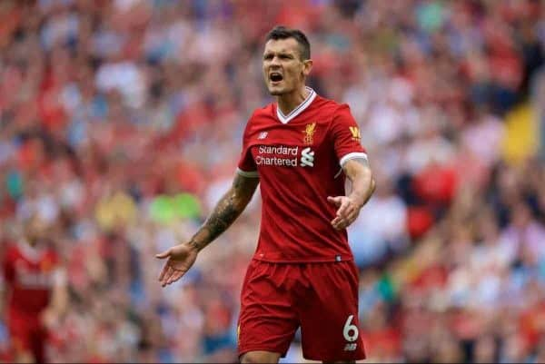 Liverpool's Dejan Lovren during the FA Premier League match between Liverpool and Arsenal at Anfield. (Pic by David Rawcliffe/Propaganda)