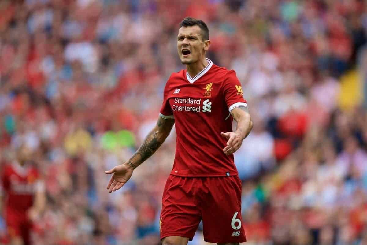 LIVERPOOL, ENGLAND - Sunday, August 27, 2017: Liverpool's Dejan Lovren during the FA Premier League match between Liverpool and Arsenal at Anfield. (Pic by David Rawcliffe/Propaganda)
