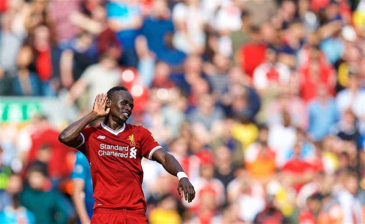 LIVERPOOL, ENGLAND - Sunday, August 27, 2017: Liverpool's Sadio Mane celebrates scoring the second goal as the supporters on the Spion Kop sing his name during the FA Premier League match between Liverpool and Arsenal at Anfield. (Pic by David Rawcliffe/Propaganda)