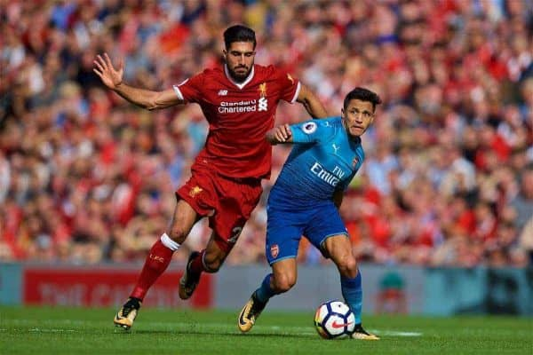 LIVERPOOL, ENGLAND - Sunday, August 27, 2017: Liverpool's Emre Can and Arsenal's Alexis Sanchez during the FA Premier League match between Liverpool and Arsenal at Anfield. (Pic by David Rawcliffe/Propaganda)