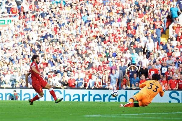 LIVERPOOL, ENGLAND - Sunday, August 27, 2017: Liverpool's Mohamed Salah scores the third goal during the FA Premier League match between Liverpool and Arsenal at Anfield. (Pic by David Rawcliffe/Propaganda)