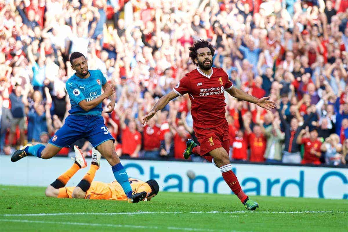 LIVERPOOL, ENGLAND - Sunday, August 27, 2017: Liverpool's Mohamed Salah celebrates scoring the third goal during the FA Premier League match between Liverpool and Arsenal at Anfield. (Pic by David Rawcliffe/Propaganda)