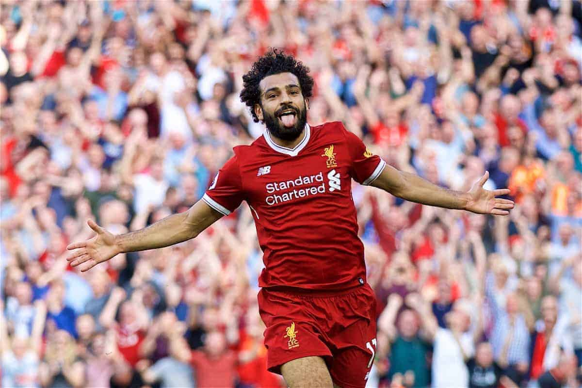 Liverpool's Mohamed Salah celebrates scoring the third goal during the FA Premier League match between Liverpool and Arsenal at Anfield. (Pic by David Rawcliffe/Propaganda)