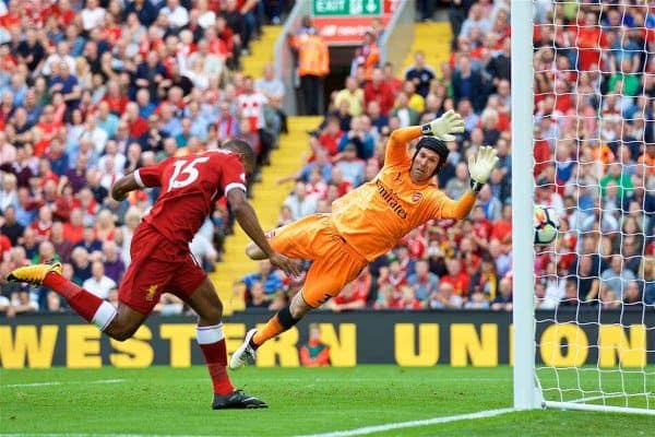 LIVERPOOL, ENGLAND - Sunday, August 27, 2017: Liverpool's Daniel Sturridge scores the fourth goal during the FA Premier League match between Liverpool and Arsenal at Anfield. (Pic by David Rawcliffe/Propaganda)