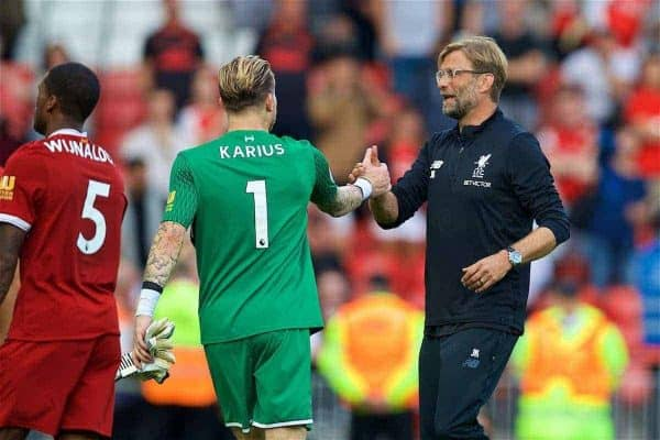 Liverpool's manager Jürgen Klopp and goalkeeper Loris Karius after the 4-0 victory over Arsenal during the FA Premier League match between Liverpool and Arsenal at Anfield. (Pic by David Rawcliffe/Propaganda)