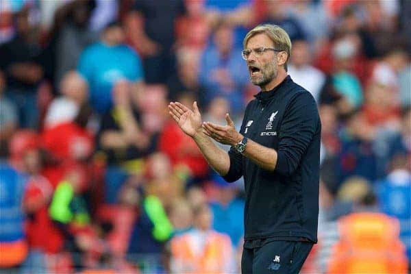 LIVERPOOL, ENGLAND - Sunday, August 27, 2017: Liverpool's manager Jürgen Klopp after the 4-0 victory over Arsenal during the FA Premier League match between Liverpool and Arsenal at Anfield. (Pic by David Rawcliffe/Propaganda)