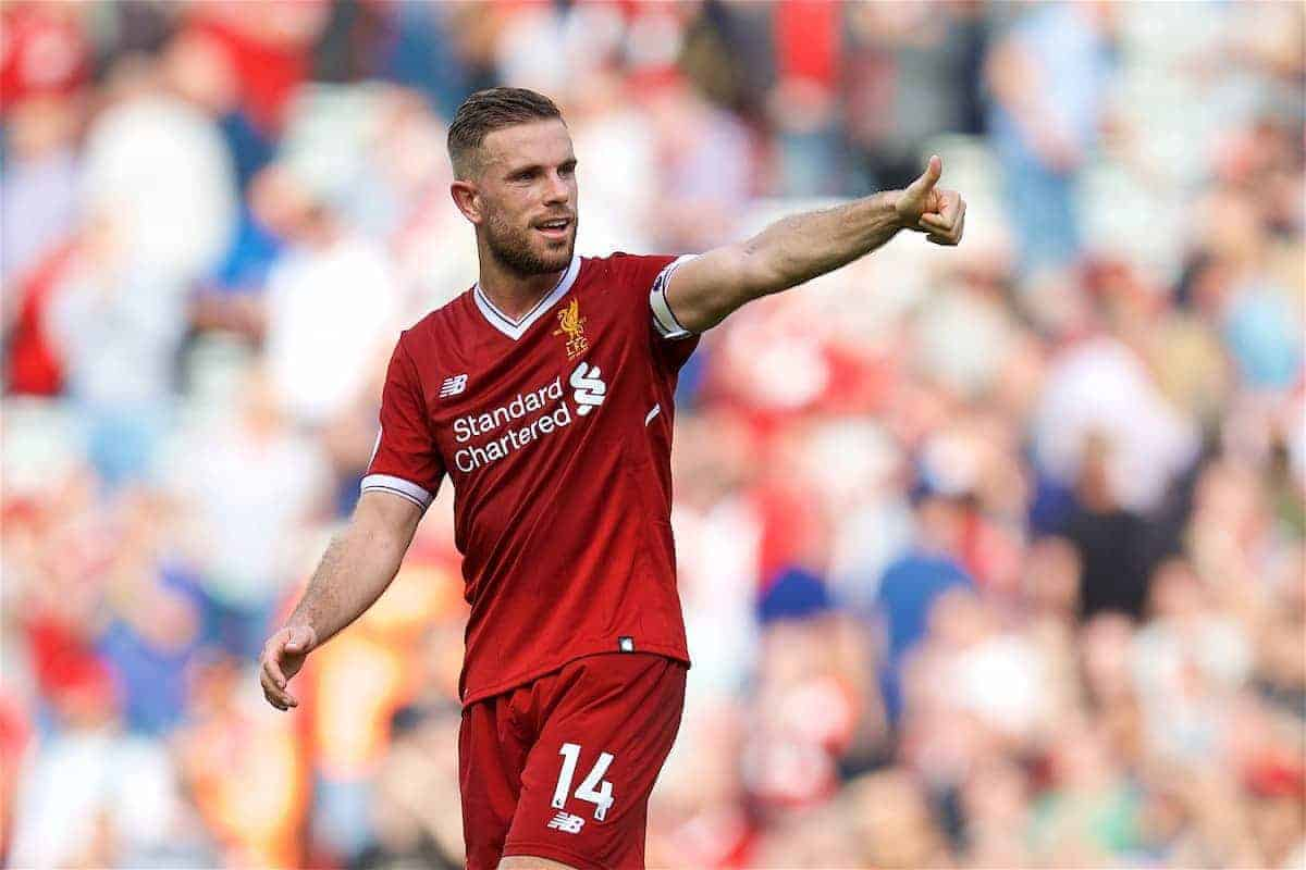 LIVERPOOL, ENGLAND - Sunday, August 27, 2017: Liverpool's captain Jordan Henderson after the 4-0 victory over Arsenal during the FA Premier League match between Liverpool and Arsenal at Anfield. (Pic by David Rawcliffe/Propaganda)