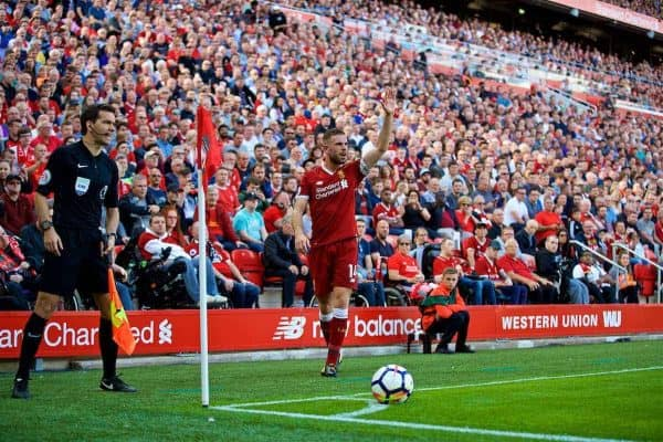 LIVERPOOL, ENGLAND - Sunday, August 27, 2017: Liverpool's captain Jordan Henderson prepares to take a corner kick during the FA Premier League match between Liverpool and Arsenal at Anfield. (Pic by David Rawcliffe/Propaganda)