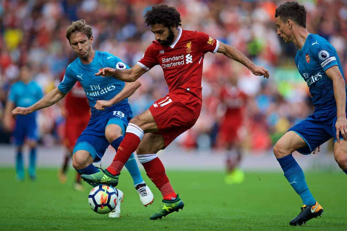 LIVERPOOL, ENGLAND - Sunday, August 27, 2017: Liverpool's Mohamed Salah during the FA Premier League match between Liverpool and Arsenal at Anfield. (Pic by David Rawcliffe/Propaganda)