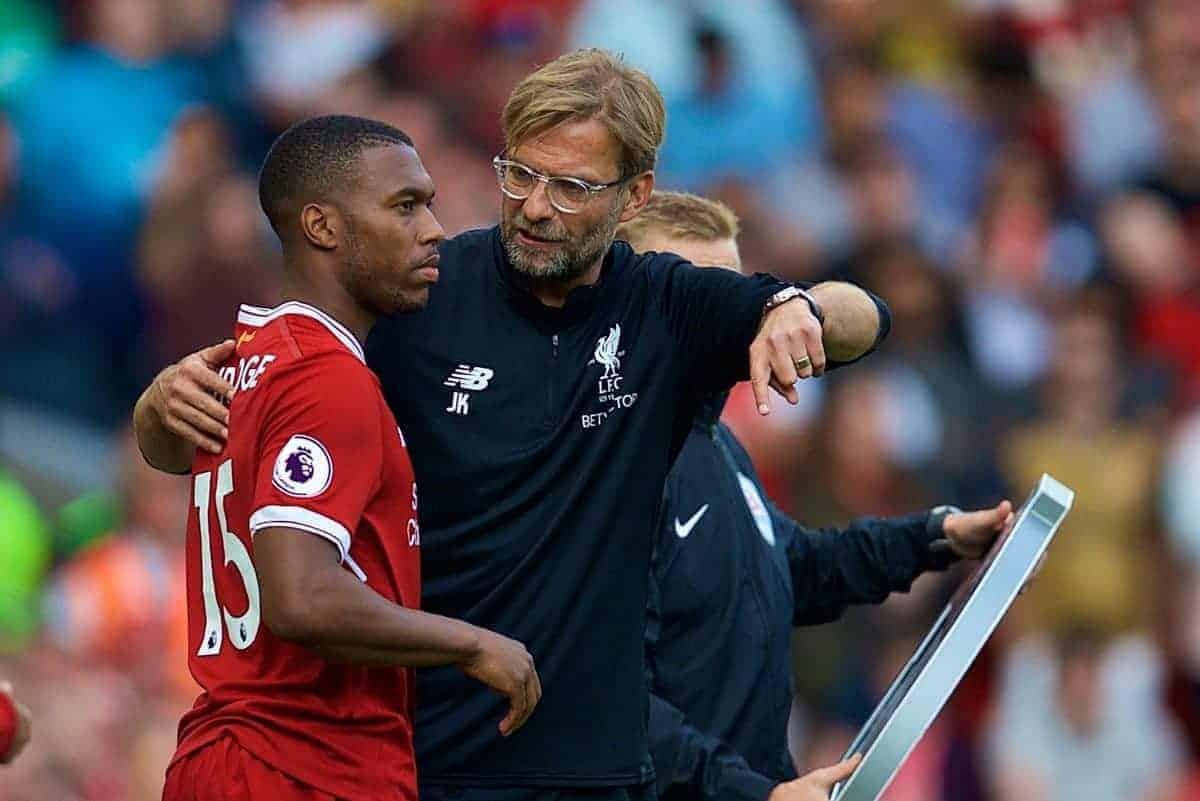 LIVERPOOL, ENGLAND - Sunday, August 27, 2017: Liverpool's manager J¸rgen Klopp prepares to bring on substitute Daniel Sturridge during the FA Premier League match between Liverpool and Arsenal at Anfield. (Pic by David Rawcliffe/Propaganda)