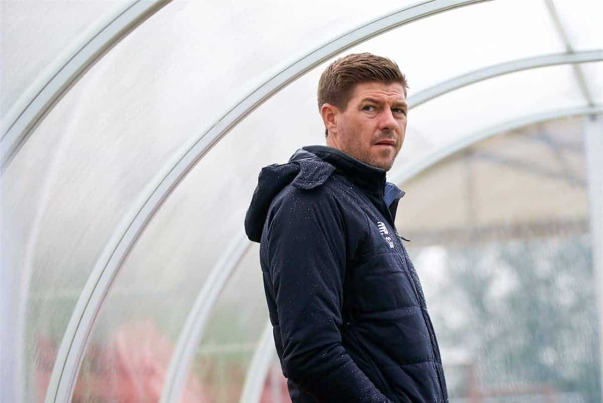 STOKE-ON-TRENT, ENGLAND - Saturday, September 9, 2017: Liverpool's manager Steven Gerrard ahead of an Under-18 FA Premier League match between Stoke City and Liverpool at the Clayton Wood Training Ground. (Pic by Laura Malkin/Propaganda)