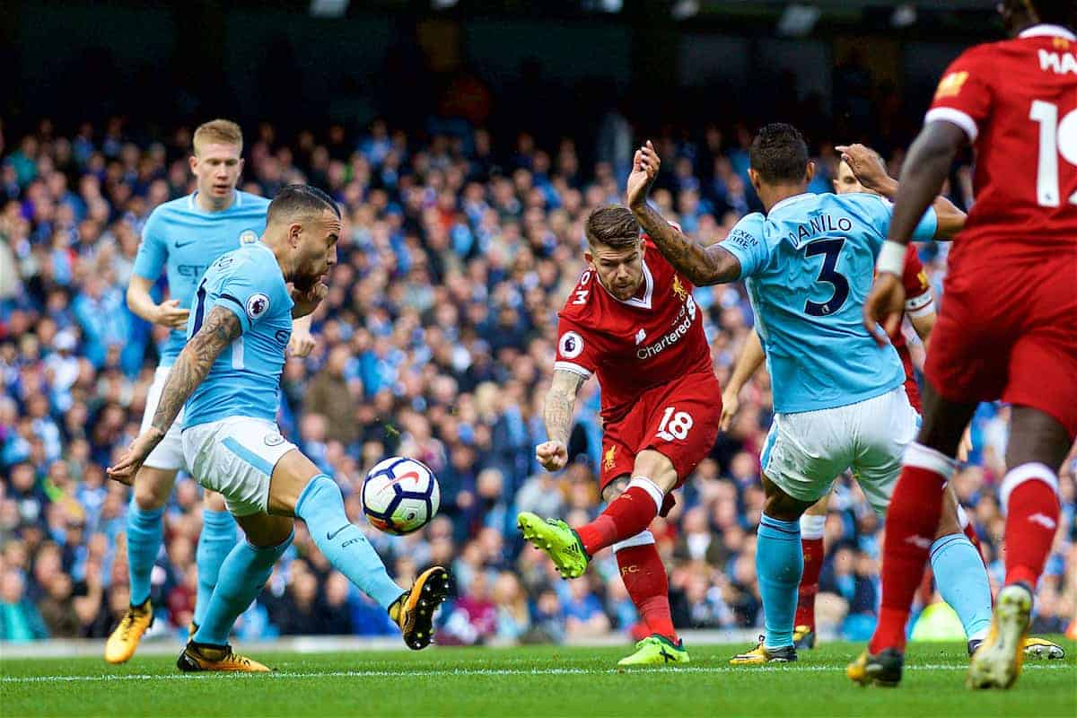 MANCHESTER, ENGLAND - Saturday, September 9, 2017: Liverpool's Alberto Moreno during the FA Premier League match between Manchester City and Liverpool at the City of Manchester Stadium. (Pic by David Rawcliffe/Propaganda)