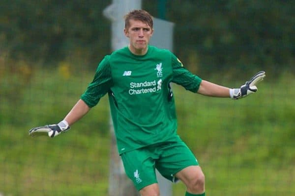 Liverpool's goalkeeper Daniel Atherton during an Under-18 FA Premier League match between Stoke City and Liverpool at the Clayton Wood Training Ground. (Pic by Laura Malkin/Propaganda)