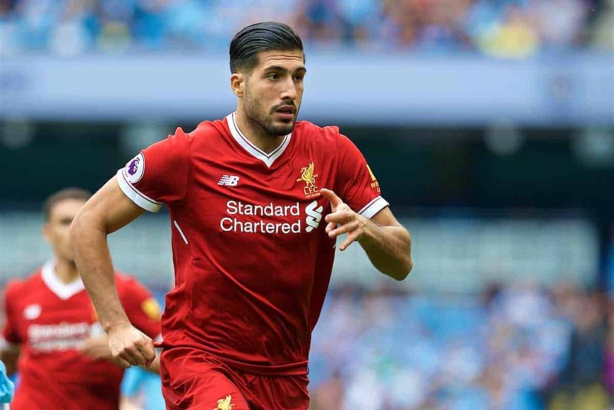 MANCHESTER, ENGLAND - Saturday, September 9, 2017: Liverpool's Emre Can during the FA Premier League match between Manchester City and Liverpool at the City of Manchester Stadium. (Pic by David Rawcliffe/Propaganda)