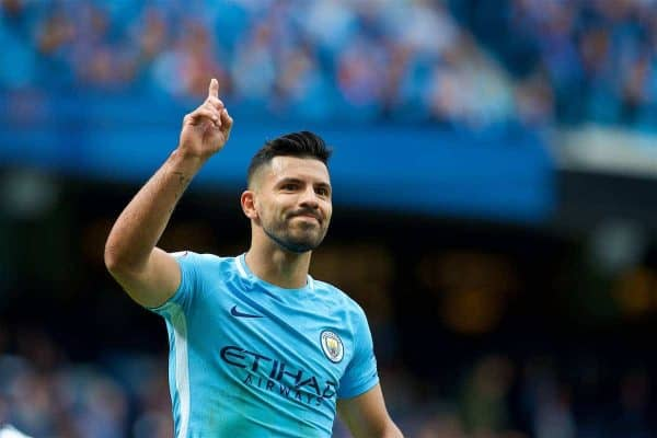 Manchester City's Sergio Aguero during the FA Premier League match between Manchester City and Liverpool at the City of Manchester Stadium. (Pic by David Rawcliffe/Propaganda)