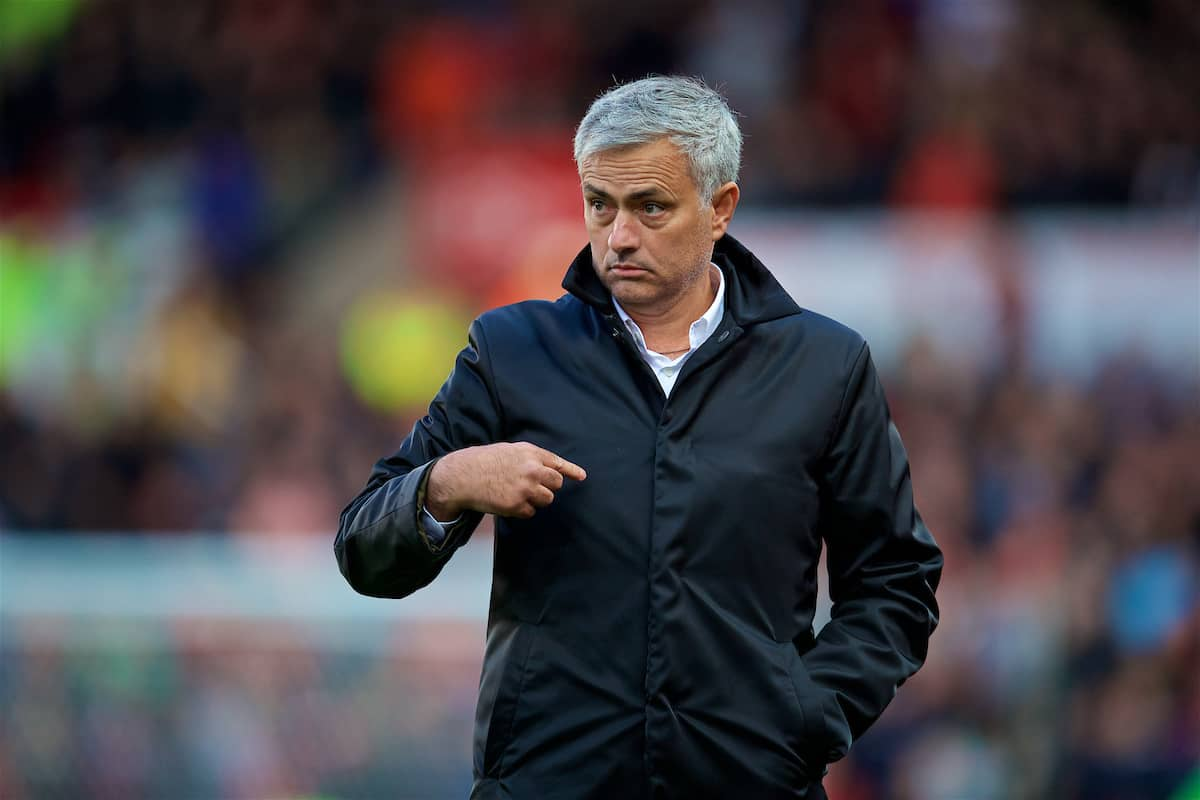 Manchester United's manager Jose Mourinho during the FA Premier League match between Stoke City and Manchester United at the Bet365 Stadium. (Pic by David Rawcliffe/Propaganda)