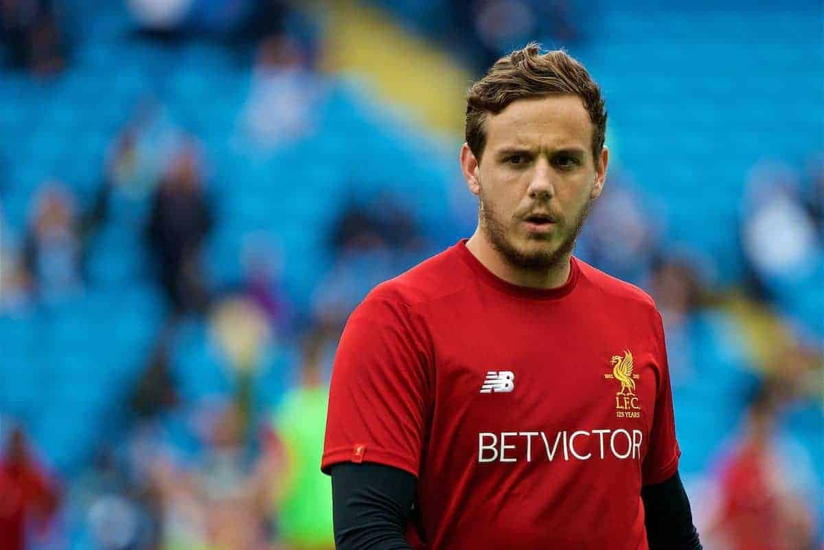 MANCHESTER, ENGLAND - Saturday, September 9, 2017: Liverpool's goalkeeper Danny Ward warms-up before the FA Premier League match between Manchester City and Liverpool at the City of Manchester Stadium. (Pic by Don Jackson-Wyatt/Propaganda)