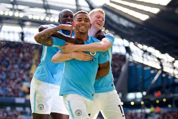 Manchester City's Gabriel Jesus celebrates scoring the second goal during the FA Premier League match between Manchester City and Liverpool at the City of Manchester Stadium. (Pic by Don Jackson-Wyatt/Propaganda)