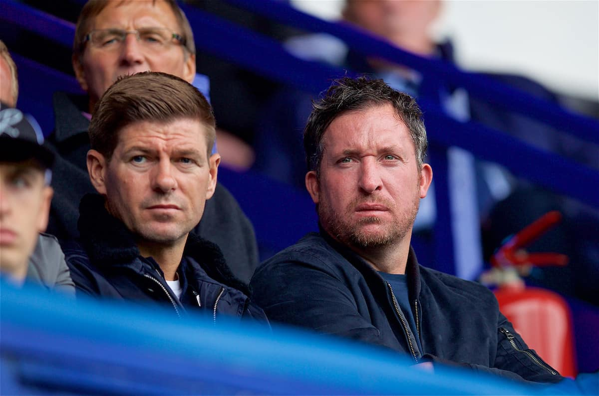 BIRKENHEAD, ENGLAND - Sunday, September 10, 2017: Liverpool ambassador Robbie Fowler and Under-18 manager Steven Gerrard [L] during the Under-23 FA Premier League 2 Division 1 match between Liverpool and Manchester City at Prenton Park. (Pic by David Rawcliffe/Propaganda)