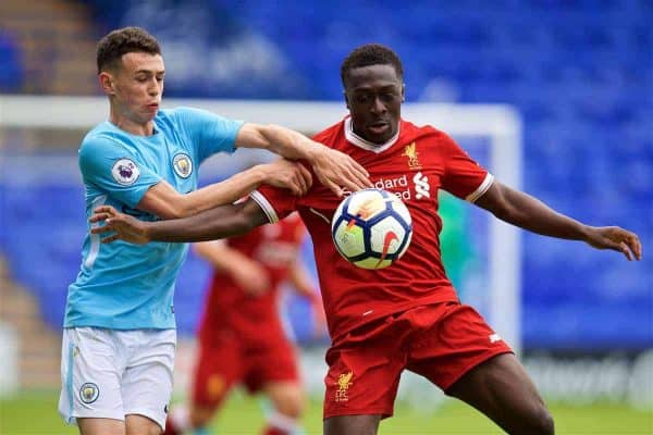BIRKENHEAD, ENGLAND - Sunday, September 10, 2017: Liverpool's substitute Bobby Adekanye and Manchester City's Phil Foden during the Under-23 FA Premier League 2 Division 1 match between Liverpool and Manchester City at Prenton Park. (Pic by David Rawcliffe/Propaganda)