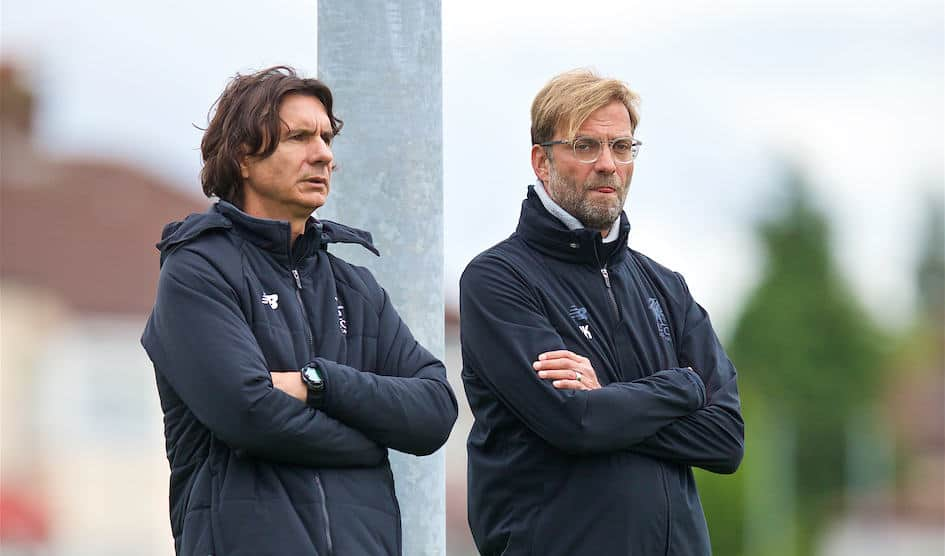 LIVERPOOL, ENGLAND - Tuesday, September 12, 2017: Liverpool's manager J¸rgen Klopp and assistant manager Zeljko Buvac [L] during a training session at Melwood Training Ground ahead of the UEFA Champions League Group E match against Sevilla FC. (Pic by David Rawcliffe/Propaganda)