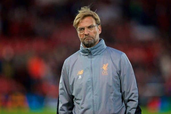 LIVERPOOL, ENGLAND - Wednesday, September 13, 2017: Liverpool's manager Jürgen Klopp before the UEFA Champions League Group E match between Liverpool and Sevilla at Anfield. (Pic by David Rawcliffe/Propaganda)