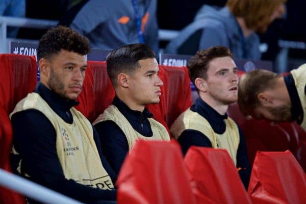 LIVERPOOL, ENGLAND - Wednesday, September 13, 2017: Liverpool's substitute Philippe Coutinho Correia sits on the bench during the UEFA Champions League Group E match between Liverpool and Sevilla at Anfield. (Pic by David Rawcliffe/Propaganda)