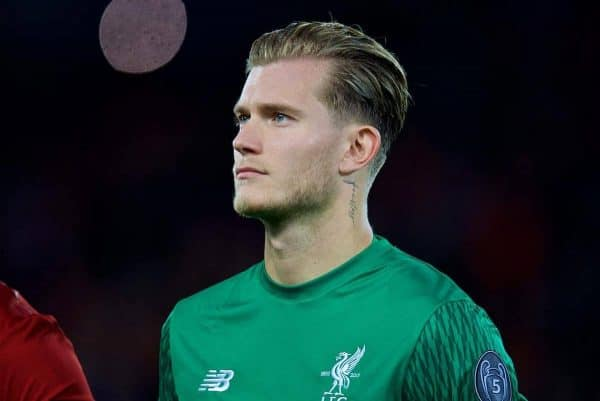 Liverpool's goalkeeper Loris Karius lines-up before the UEFA Champions League Group E match between Liverpool and Sevilla at Anfield. (Pic by David Rawcliffe/Propaganda)