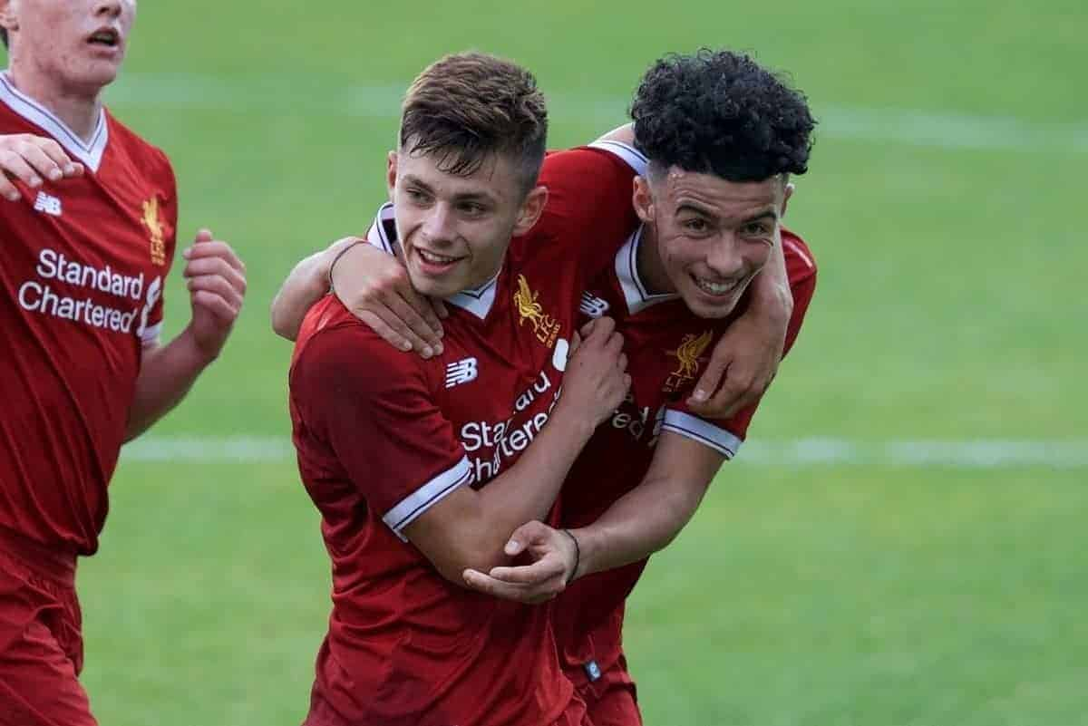 BIRKENHEAD, ENGLAND - Wednesday, September 13, 2017: Liverpool's Curtis Jones celebrates scoring his sides third goal with Adam Lewis during the UEFA Youth League Group E match between Liverpool and Sevilla at Prenton Park. (Pic by Paul Greenwood/Propaganda)