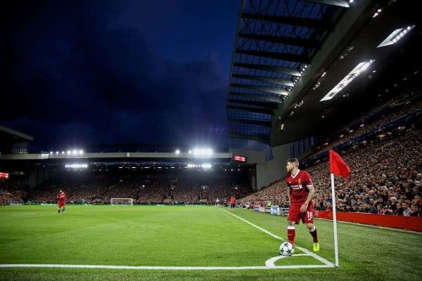LIVERPOOL, ENGLAND - Wednesday, September 13, 2017: Liverpool's Alberto Moreno prepares to take a corner kick during the UEFA Champions League Group E match between Liverpool and Sevilla at Anfield. (Pic by David Rawcliffe/Propaganda)