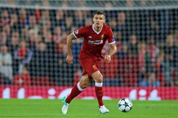 LIVERPOOL, ENGLAND - Wednesday, September 13, 2017: Liverpool's Dejan Lovren during the UEFA Champions League Group E match between Liverpool and Sevilla at Anfield. (Pic by David Rawcliffe/Propaganda)