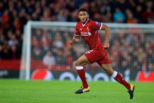 LIVERPOOL, ENGLAND - Wednesday, September 13, 2017: Liverpool's Joe Gomez during the UEFA Champions League Group E match between Liverpool and Sevilla at Anfield. (Pic by David Rawcliffe/Propaganda)