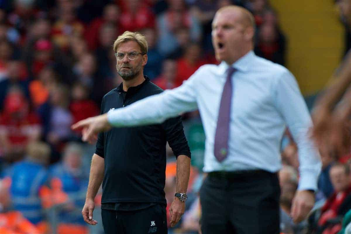 LIVERPOOL, ENGLAND - Saturday, September 16, 2017: Liverpool's manager Jürgen Klopp looks on as Burnley's manager Sean Dyche issues instructions during the FA Premier League match between Liverpool and Burnley at Anfield. (Pic by Peter Powell/Propaganda)