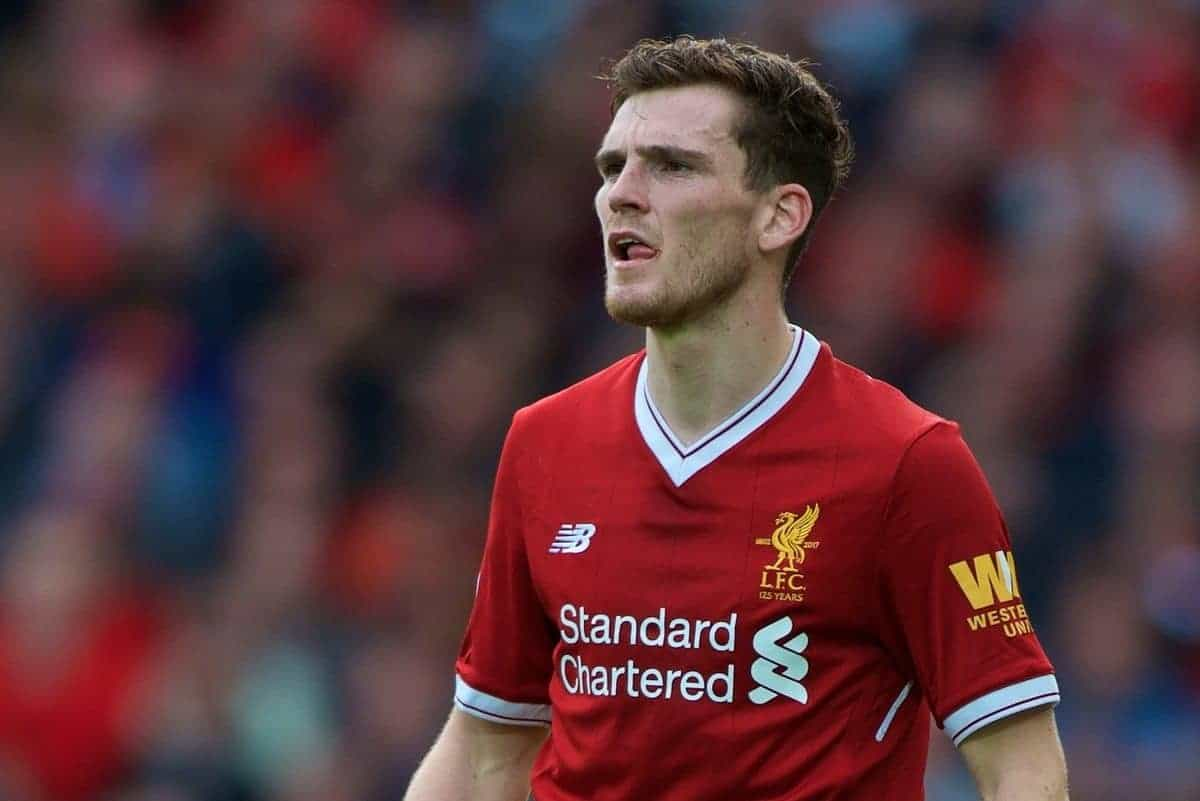LIVERPOOL, ENGLAND - Saturday, September 16, 2017: Liverpool's Andy Robertson during the FA Premier League match between Liverpool and Burnley at Anfield. (Pic by Peter Powell/Propaganda)