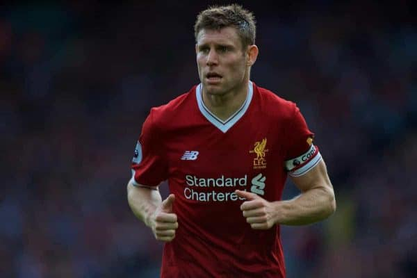 LIVERPOOL, ENGLAND - Saturday, September 16, 2017: Liverpool's James Milner during the FA Premier League match between Liverpool and Burnley at Anfield. (Pic by Peter Powell/Propaganda)