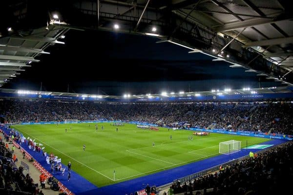 LEICESTER, ENGLAND - Tuesday, September 19, 2017: Players line-up before during the Football League Cup 3rd Round match between Leicester City and Liverpool at the King Power Stadium. (Pic by David Rawcliffe/Propaganda)